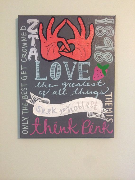 Sorority ZETA painting with related sayings and by cre8acanvas, $21.00 customizable greek life