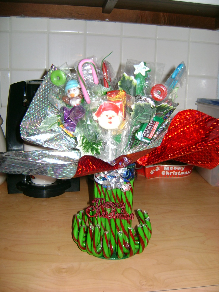 Christmas candy boquet that Aunt Dee made for us.