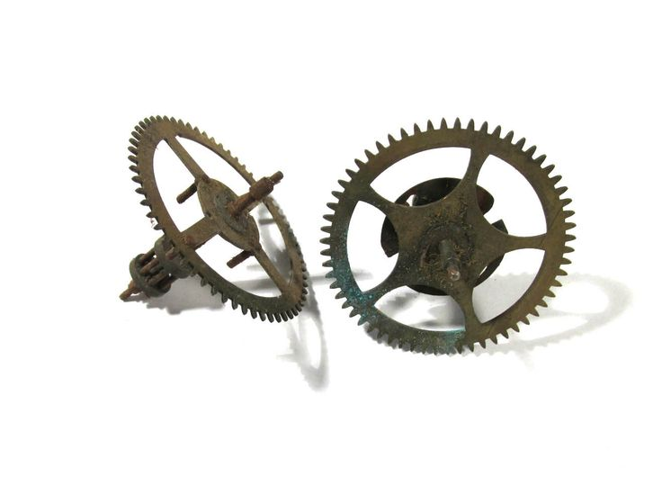 Clock Gears Vintage STEAMPUNK Gears Two (2) Large Clock Gears Mechanical…