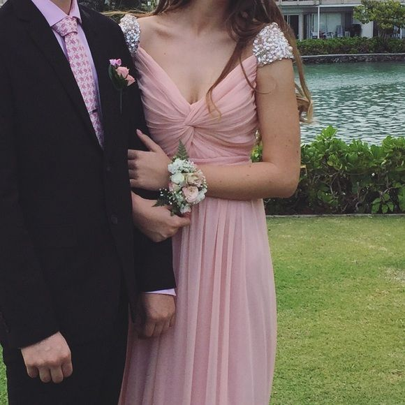 Modest Pink Prom Dress wore for junior prom & mormon prom LOL. sleeves. ️️, Price negotiable David's Bridal Dresses Prom