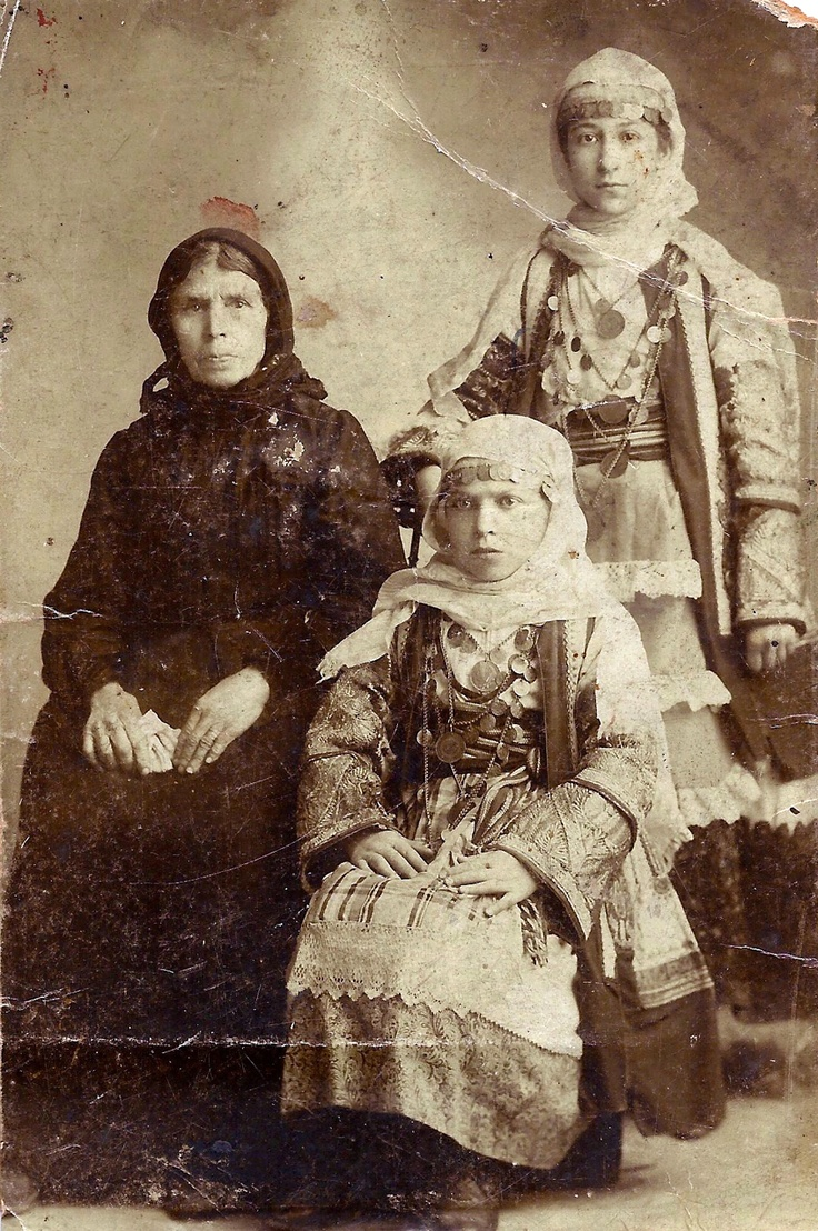 Tentatively dated from around 1890, the three women in this cabinet portrait have been identified as Efrosini Venardos Chlentzos (1843-1935) and her daughters Kyrani and Maria, from the small village of Christoforianika on the island of Kythera.