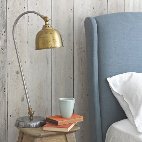 GASTON. Handsome and a little bit different, this standard lamp's vintage brass finish is crying out to be loved for years to come in a nice Loaf home.