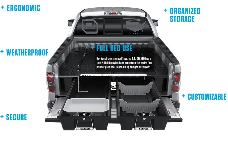 Discover the new and better way to keep your stuff for work or play secure, covered and organized in your pickup truck. Experience the Decked difference.