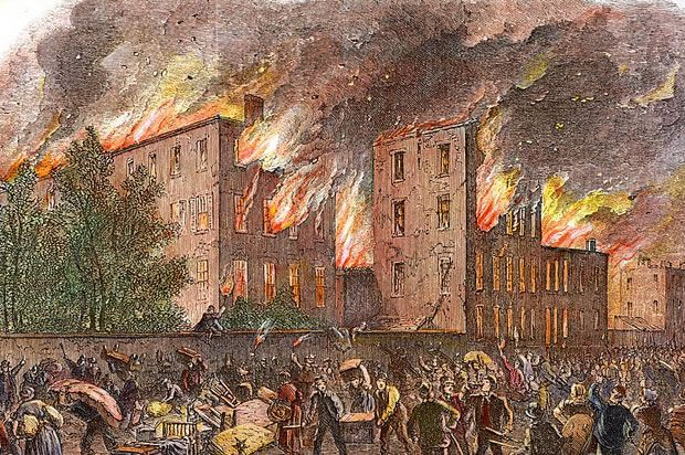 "Jul. 13, 1863 Draft Riots: ""When recruiting for the army began in July 1863, a mob in New York wrecked the main recruiting station. Then, for 3 days, crowds of white workers marched through the city, destroying buildings, factories, streetcar lines, homes. The draft riots were complex—anti-black, anti-rich, anti-Republican. They set the city's colored orphan asylum on fire. They shot, burned, and hanged blacks. Union troops returning from the Battle of Gettysburg stopped the rioting on day…"