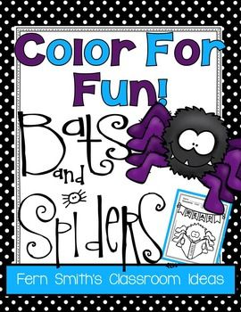 36 Coloring Pages for Spiders and Bats Fun! Color For Fun Printable Coloring PagesFree Reading Spider Fun Printable Coloring Page in the Preview Download!This resource is part of a larger bundle, please click here if you would rather purchase the larger bundle today, Color for Fun, First Semester Bundle for Fall Fun!