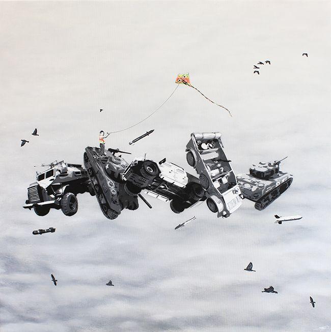 """KURAR street artist artwork named """" SURPASS THE WAR """" more details on ; kurar.fr/#home"""