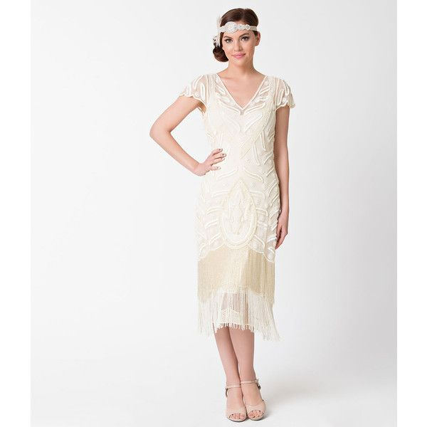 1920s Style Cream Ivory Beaded Vegas Fringe Flapper Dress ($208) ❤ liked on Polyvore featuring dresses, white, 1920s flapper dress, sequin cocktail dresses, 20s flapper dress, white sequin cocktail dress and white flapper dress