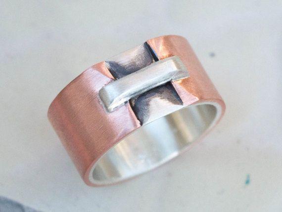 Silver and copper mens ring Unique men ringMen's rustic