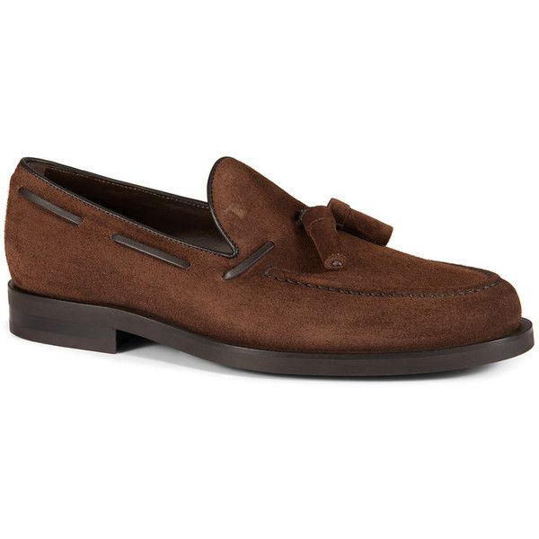Tod's - Loafers in Suede ($445) ❤ liked on Polyvore featuring men's fashion, men's shoes, men's loafers, brown, mens loafer shoes, suede tassel loafers mens shoes, mens brown shoes, tods mens shoes and mens tassel shoes