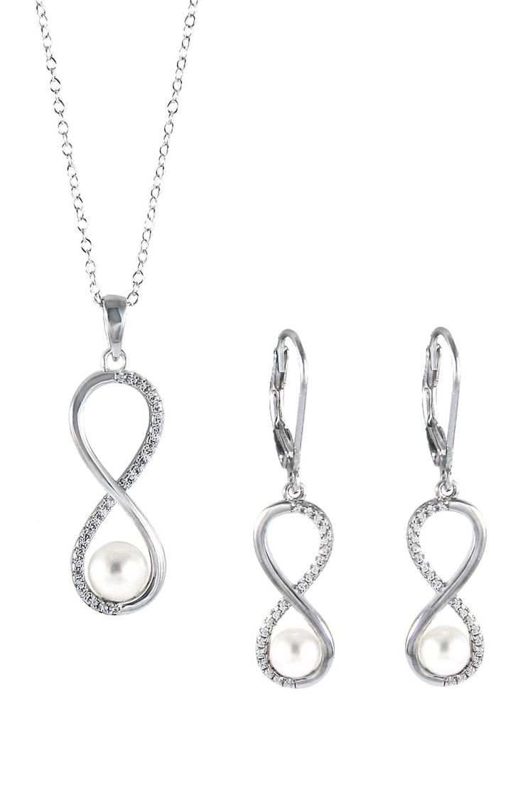 7.5-8mm White Freshwater Pearl Infinity CZ Pendant Necklace & Earrings Set