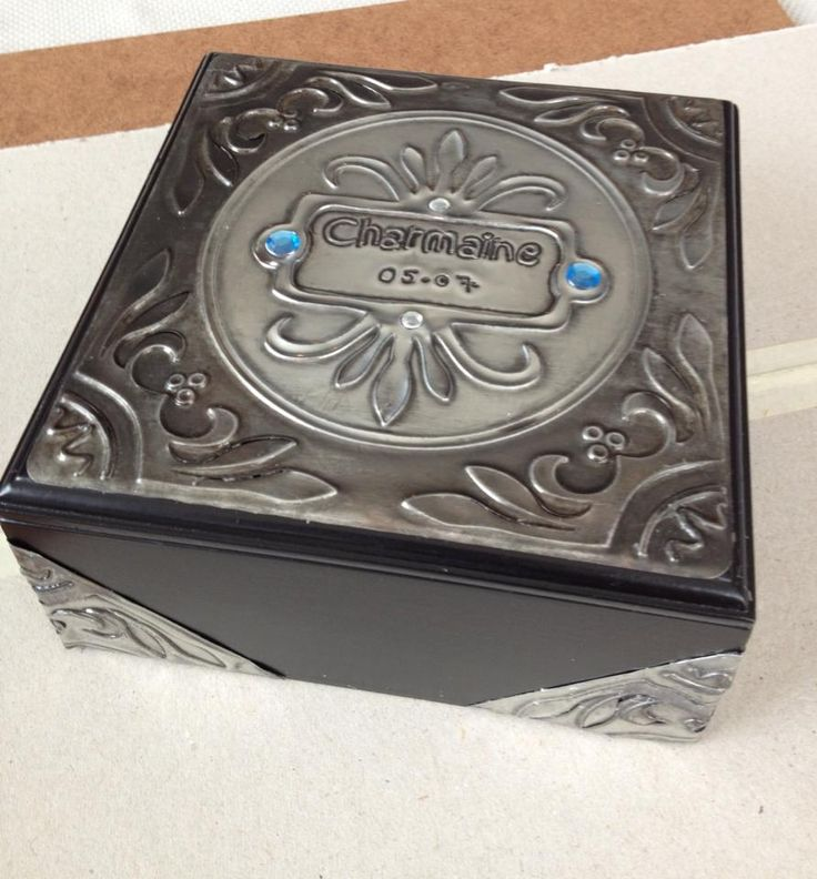 Box made with Creaticca Studio Texture plate (Badges) and Pewter.  Products are available at www.creaticcastudio.co.za