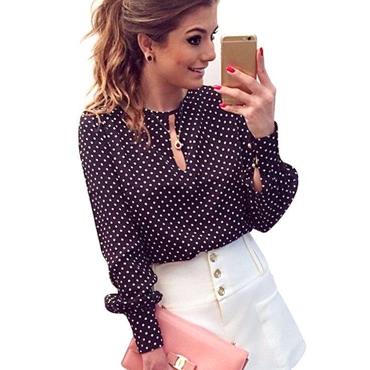 S-XL Mujeres Blusas Femininas Blusa De Renda Impresión del punto de Polca Camisas Vintage Blusa de La Gasa Tops Camisa de Manga Larga