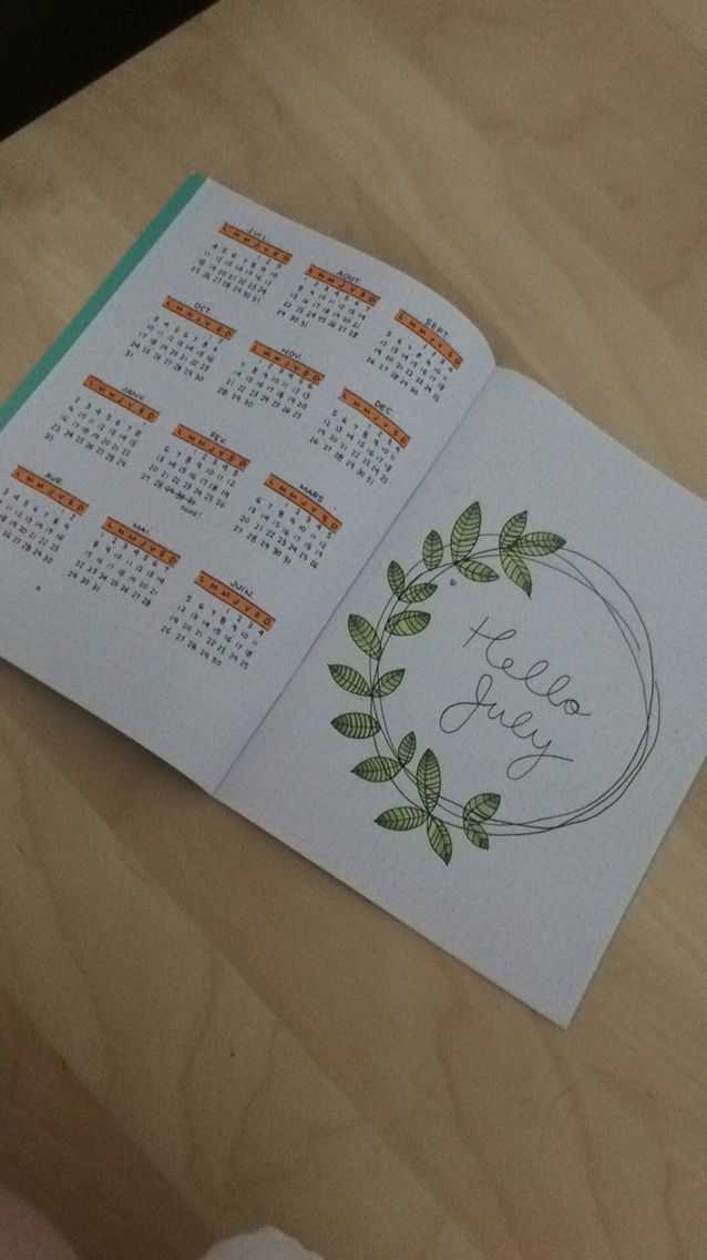 first try of bullet journal year at a glance, doodle july