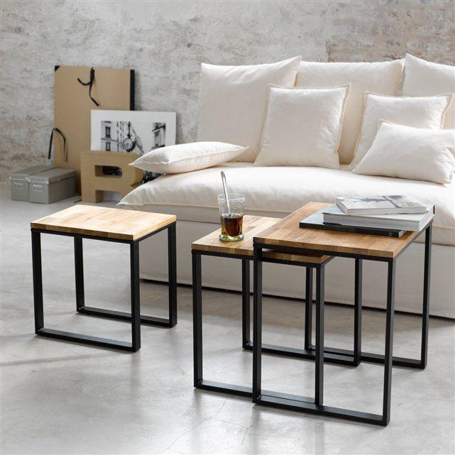 Table gigogne noyer massif abouté et acier (lot de 3), Hiba La Redoute Interieurs