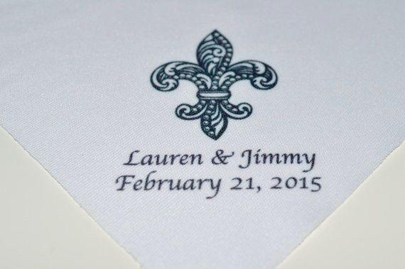 Second line handkerchiefs: Starting 1.01 apiece NEW and UNIQUE carved fleur de lis, names and date, second line handkerchiefs