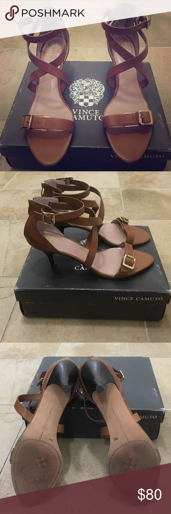 Vince Camuto Kitten Heels Leather Vince Camuto kitten heels in tan leather cute buckles Vince Camuto Shoes Sandals