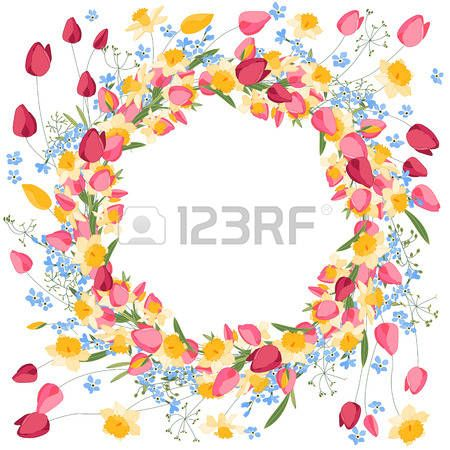 Detailed contour wreath withtulips and daffodils isolated on white Round frame for your design greet Stock Vector