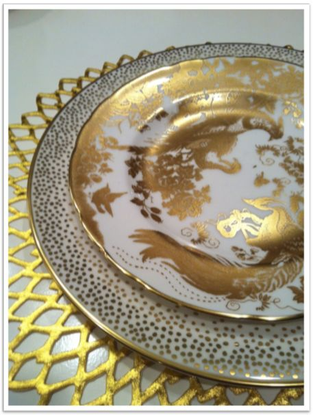 Wedding china...Salad and dessert plates are Gold Aves by Royal Crown Derby, and dinner plates are Trousdale by Kelly Wearstler for Pickard.