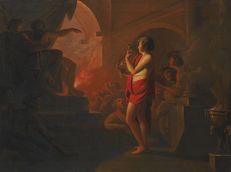 Follower of Heinrich Füger ORPHEUS AND EURYDICE IN THE UNDERWORLD oil on canvas 72 by 97.2 cm.; 28 3/8  by 38 1/4  in.: