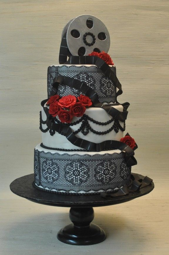 Black, white and red - Hollywood Glamour style vintage wedding cake with sugar lace, pearls, jewels and red roses by The Cake Zone