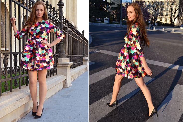 Heart print dress fashion spring