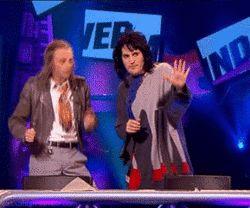 Paul foot & Noel fielding dancing