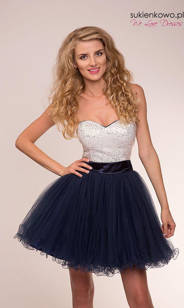 Kryształowa sukienka księżniczka granatowa SHINE