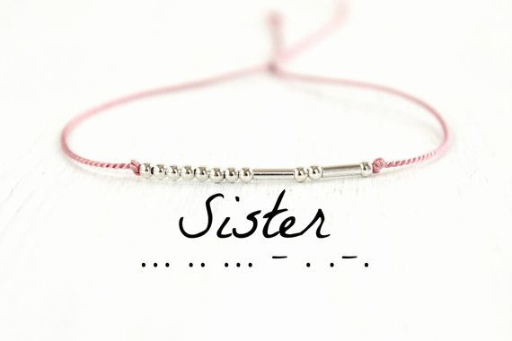 Sœur de Code Morse Bracelet minimaliste meilleur ami bijoux amitié argent cordon de soie Bracelet cadeau pour soeurs