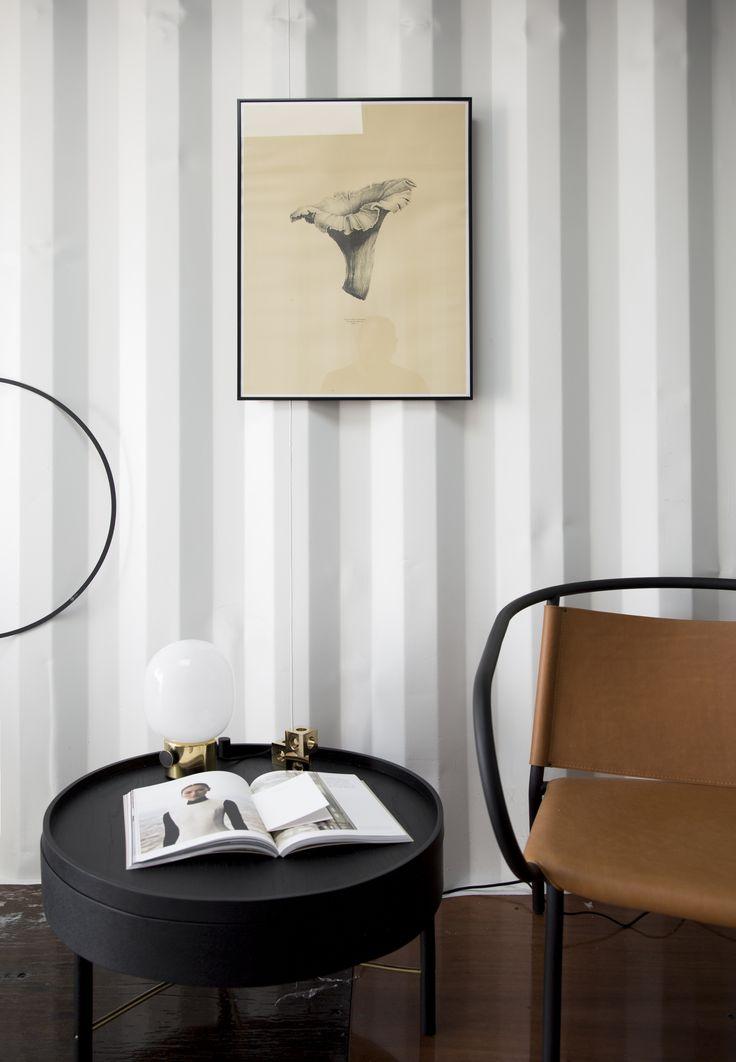 Afteroom Lounge Chair, Turning Table, Cube Candleholder, JWDA Metallic Lamp