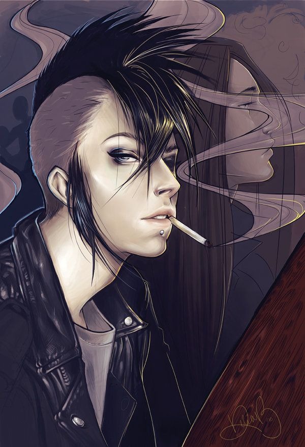 cyberpunk shaved side hairstyle punk girl bedroom eyes