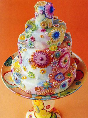 flower power hippie garden wedding cake