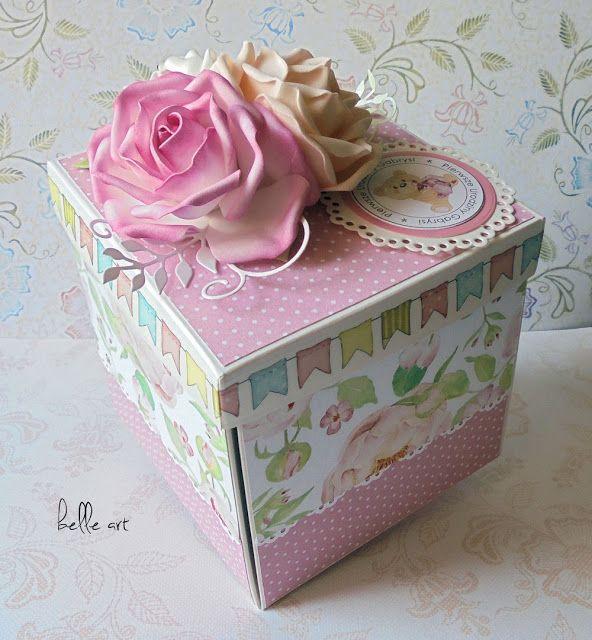 belle art, birthday card, cake, roses, foamiran