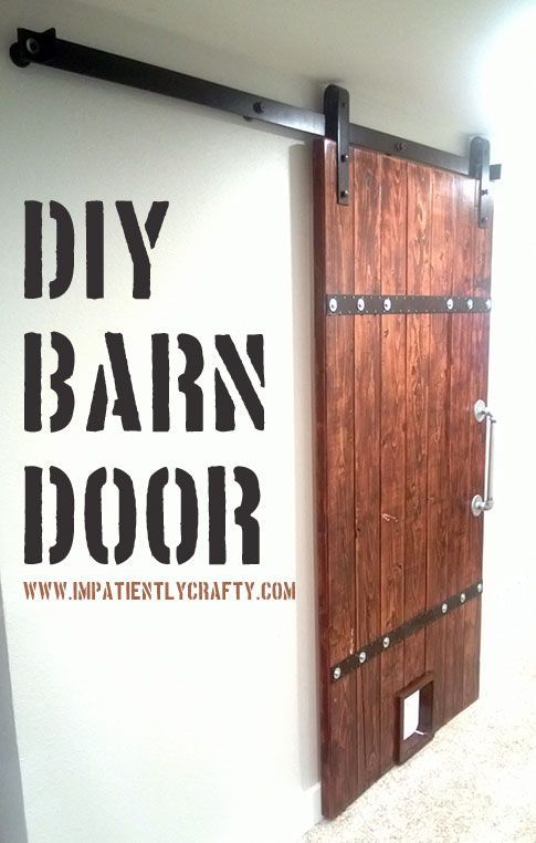 easy wood barn door with pet door and industrial metal accents - Impatiently Crafty