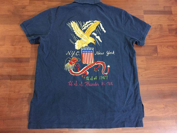 Mens Vtg Polo Ralph Lauren U S S Thunder Rl 784 Military