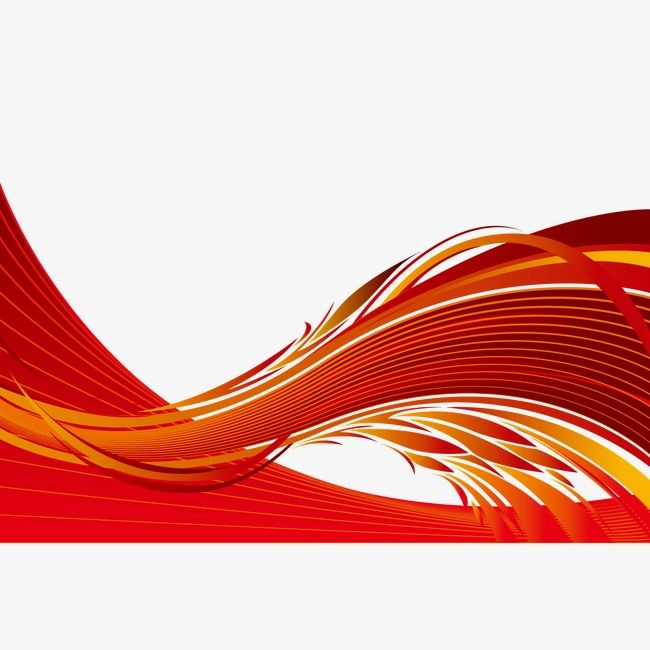 Vector Red Wavy Line Curve Red Black Background Decorative