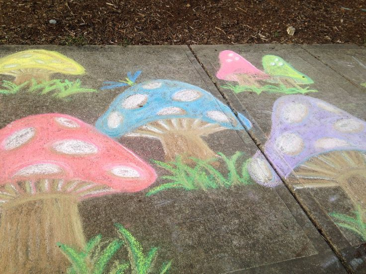 Mushrooms sidewalk chalk