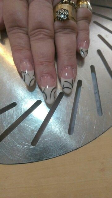 White french with nail art, by marie