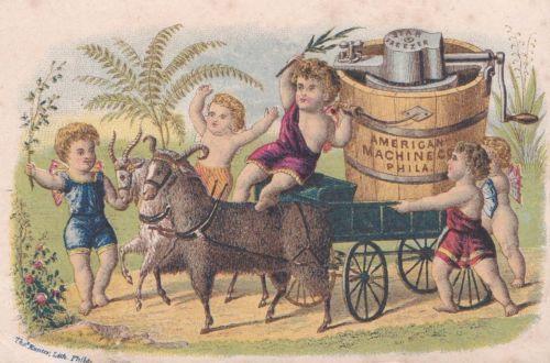 Rare-Antique-Victorian-Advertising-Trade-Card-STAR-ICE-CREAM-FREEZER-Cherubs