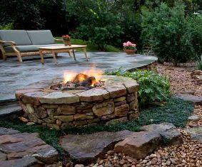 flagstone patio fireplace