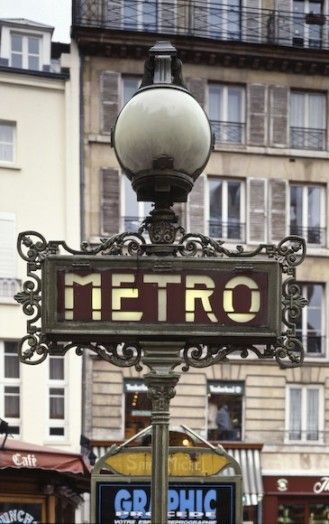 The Metro signboard in Paris made by the Val d'Osne foundry.