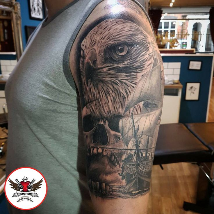 Bird and skull piece by Lord Nelson using #magnumtattoosupplies