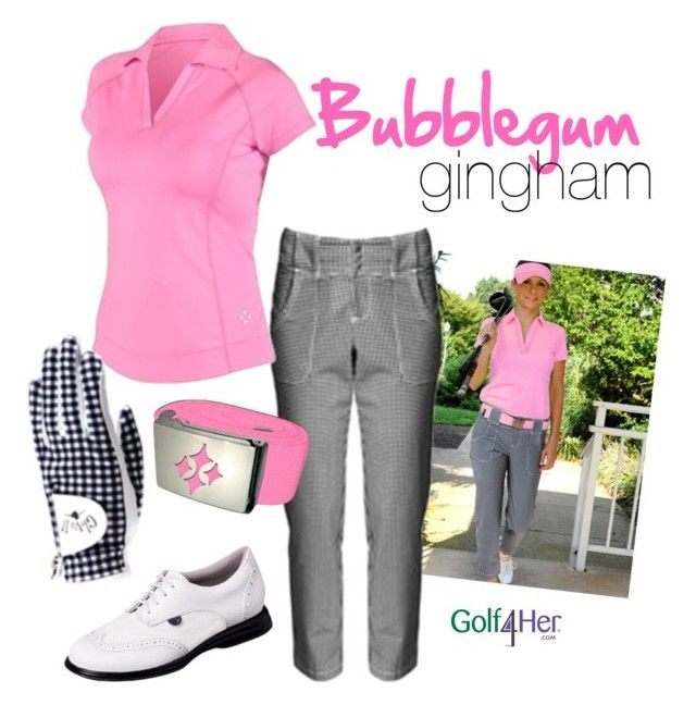 """Ladies Golf OOTD: Bubblegum Gingham"" by golf4her ❤ liked on Polyvore featuring Jofit and Glove It"