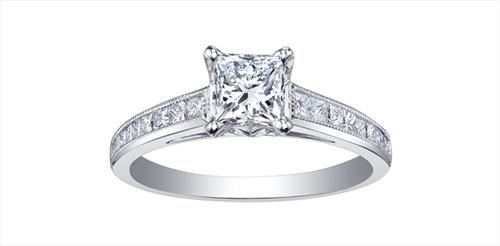Maple Leaf Diamonds Ladies Engagement Ring Catalogue #: ML213W125 Pure White 18 karat Canadian Certified Gold princess cut Canadian diamond ladies engagement ring set with 0.90 carat princess cut Canadian diamond and 0.34 carat total weight diamonds.