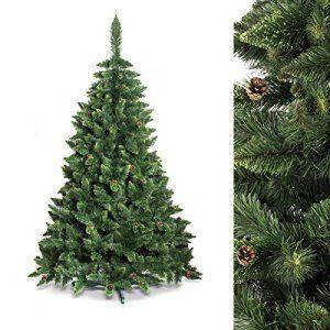 FAIRYTREES Arbre de Noël artificiel PIN, vert nature, matériau PVC, véritables pommes de pin, avec pied, 150cm, FT03-150