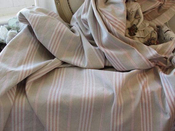 Antique French ticking fabric, material, striped faded textile from an old mattress cover. Toile a matalas.  Primitive rustic timeworn chic