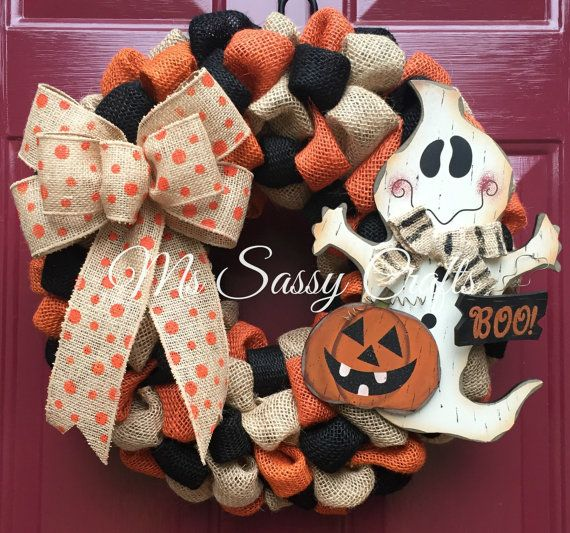 Halloween Wreath  Ghost Wreath  Halloween Burlap by MsSassyCrafts