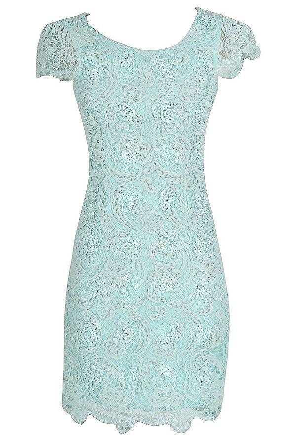 Nila Crochet Lace Capsleeve Pencil Dress in Pale Mint