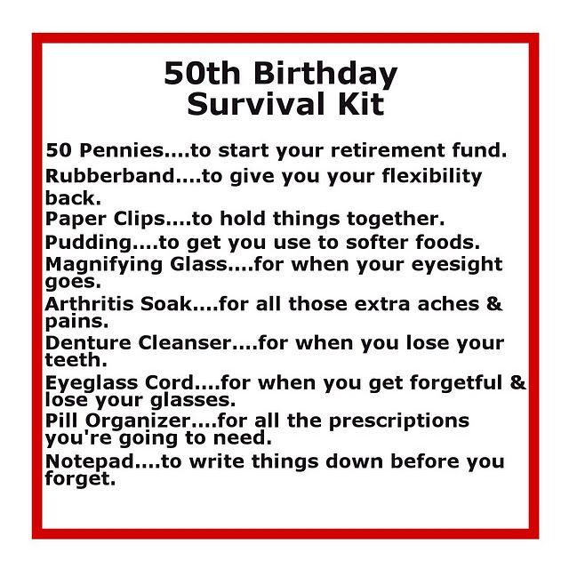 Survival Kits with cute sayings | 50 th birthday survival kit: