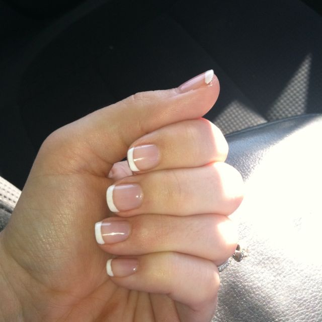 """French manicure shellac. Stays on for a month and doesn't damage your nails. This was how I kept my nails looking great during 6months of esthetics classes where I was constantly washing my hands and touching clients skin - my hands had to stay in great """"short"""" shape... I love this shellac look!"""