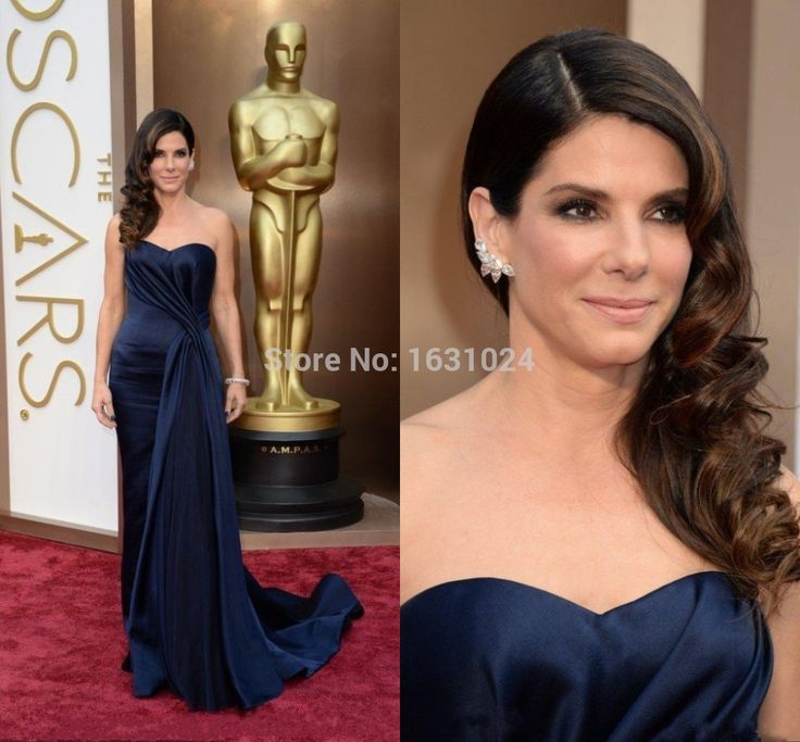 2016 The 86th Academy Awards Sandra Bullock Celebrity Dress Sweetheart Satin Navy Blue Elegant Prom Party Evening Gown ZB734